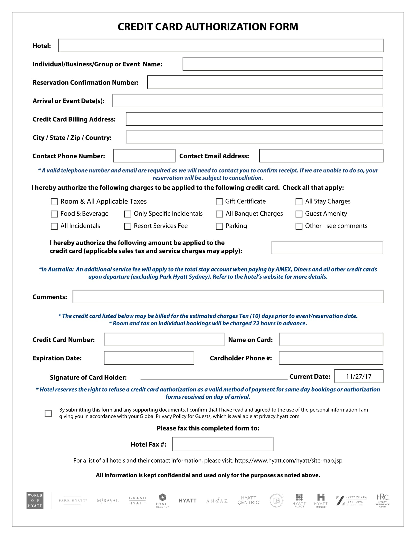 credit card authorization form 1