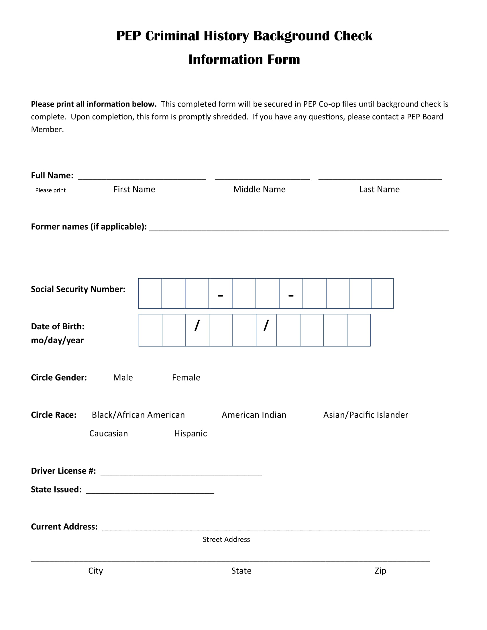 criminal history background check information form 2