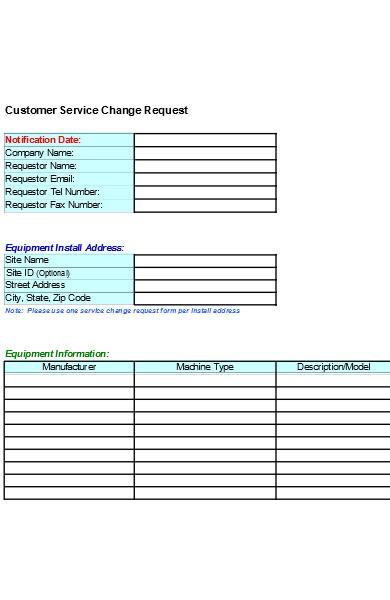 customer service change request form