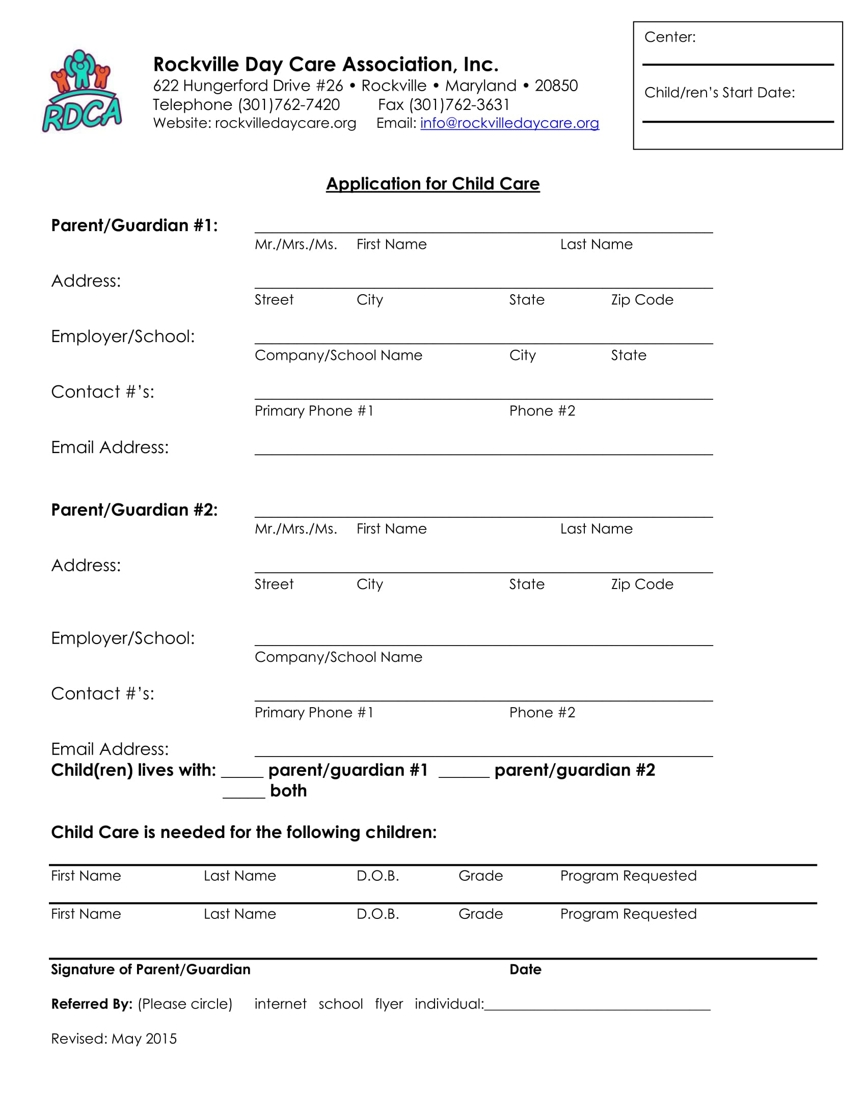 daycare application information form 1