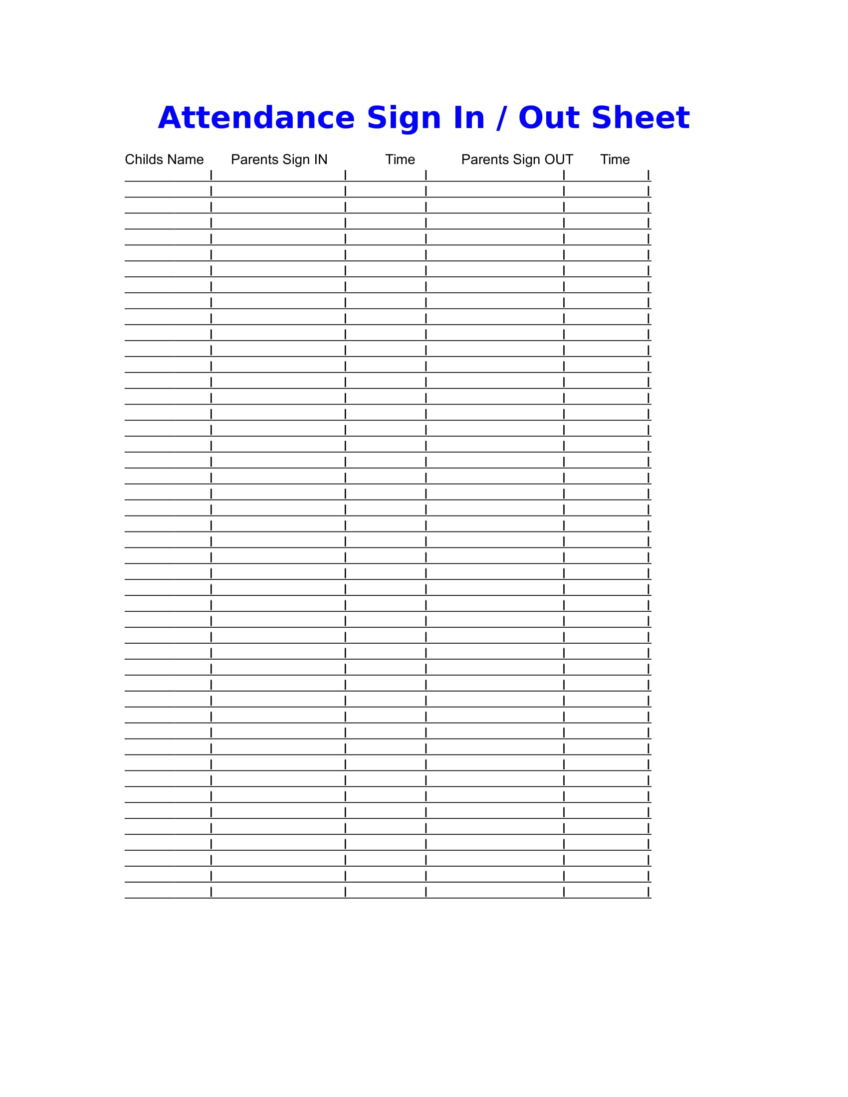 daycare attendance information form 1