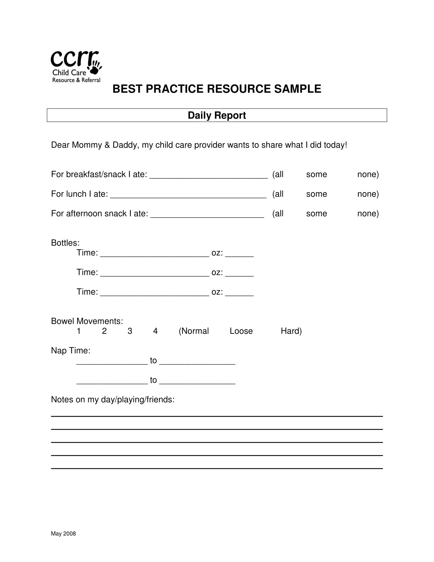 daycare child daily report information form 1