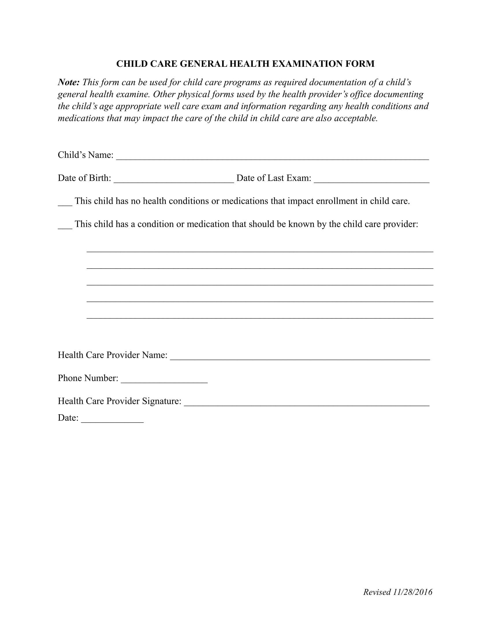 daycare child health exam information form 1