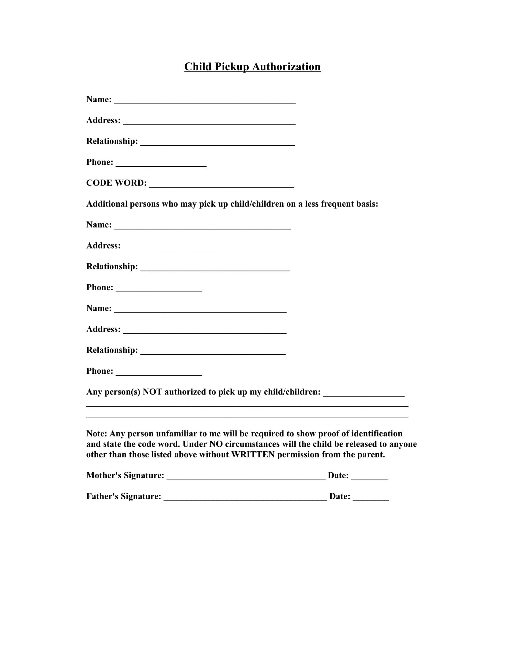 daycare child pickup authorization information 1