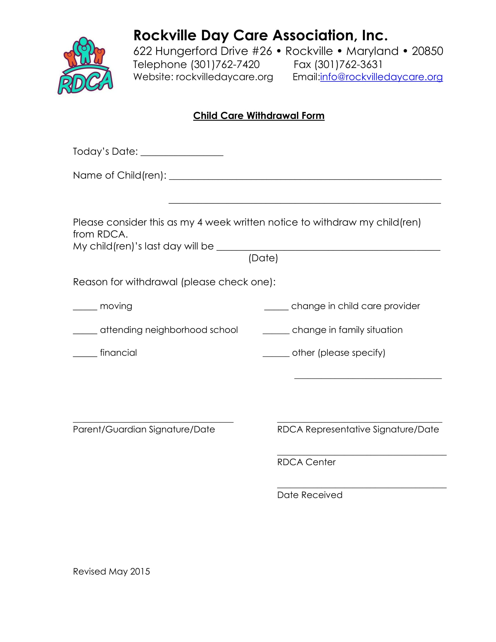daycare child withdrawal form 1