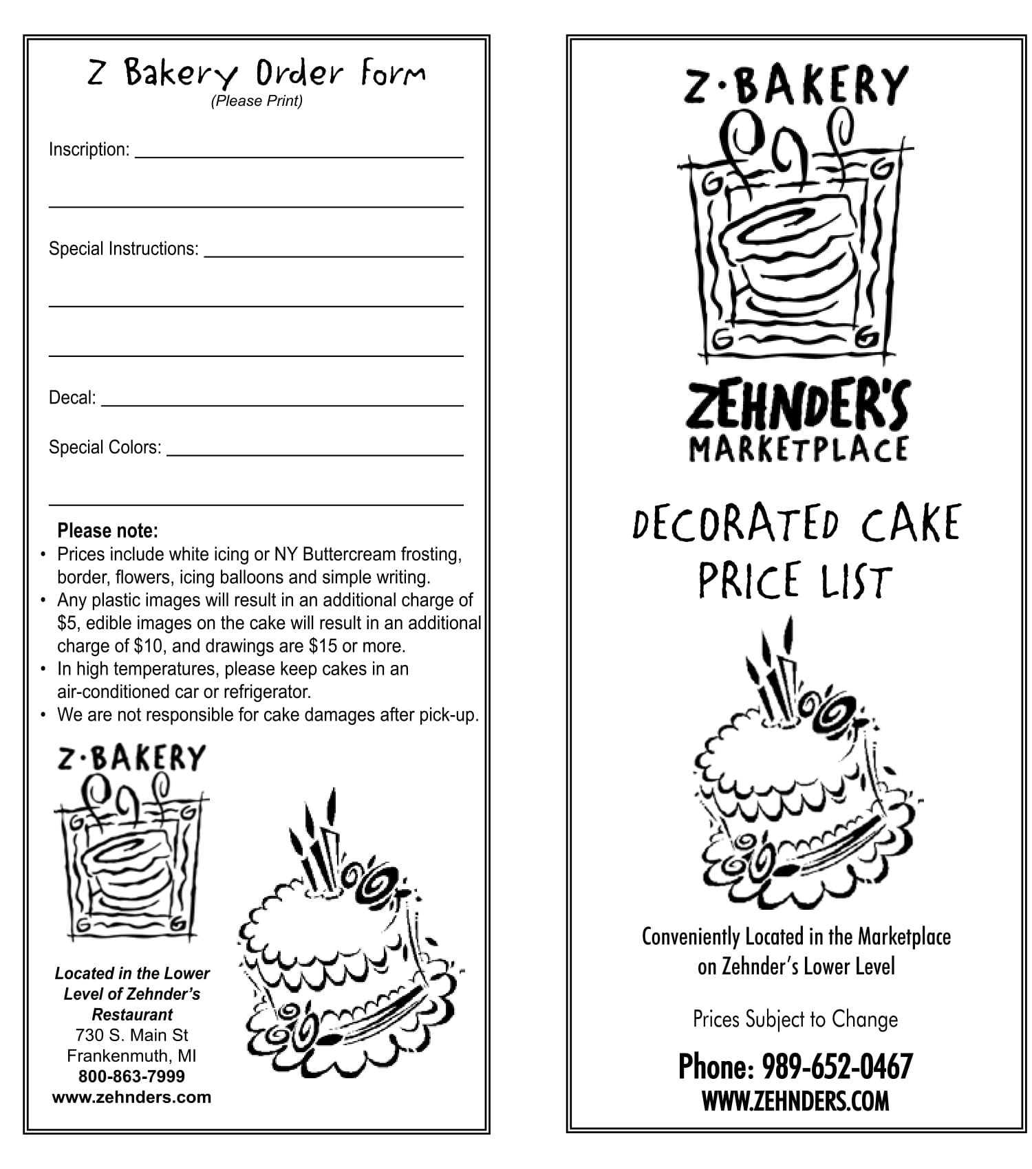 decorated cake order form 1
