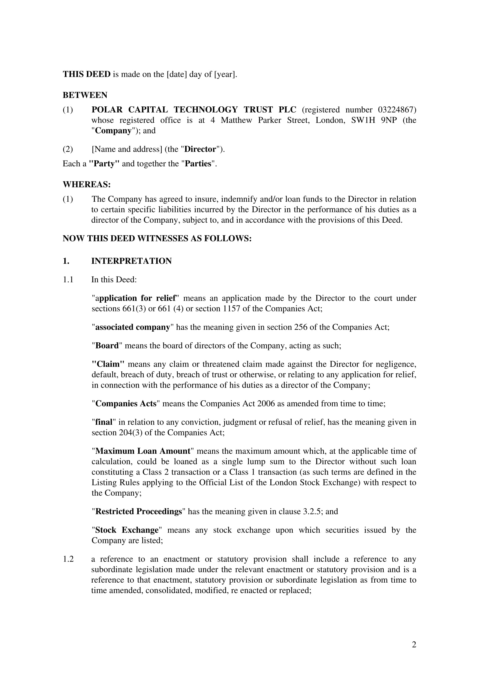 Deed Of Indemnity Form Template  Deed Of Indemnity