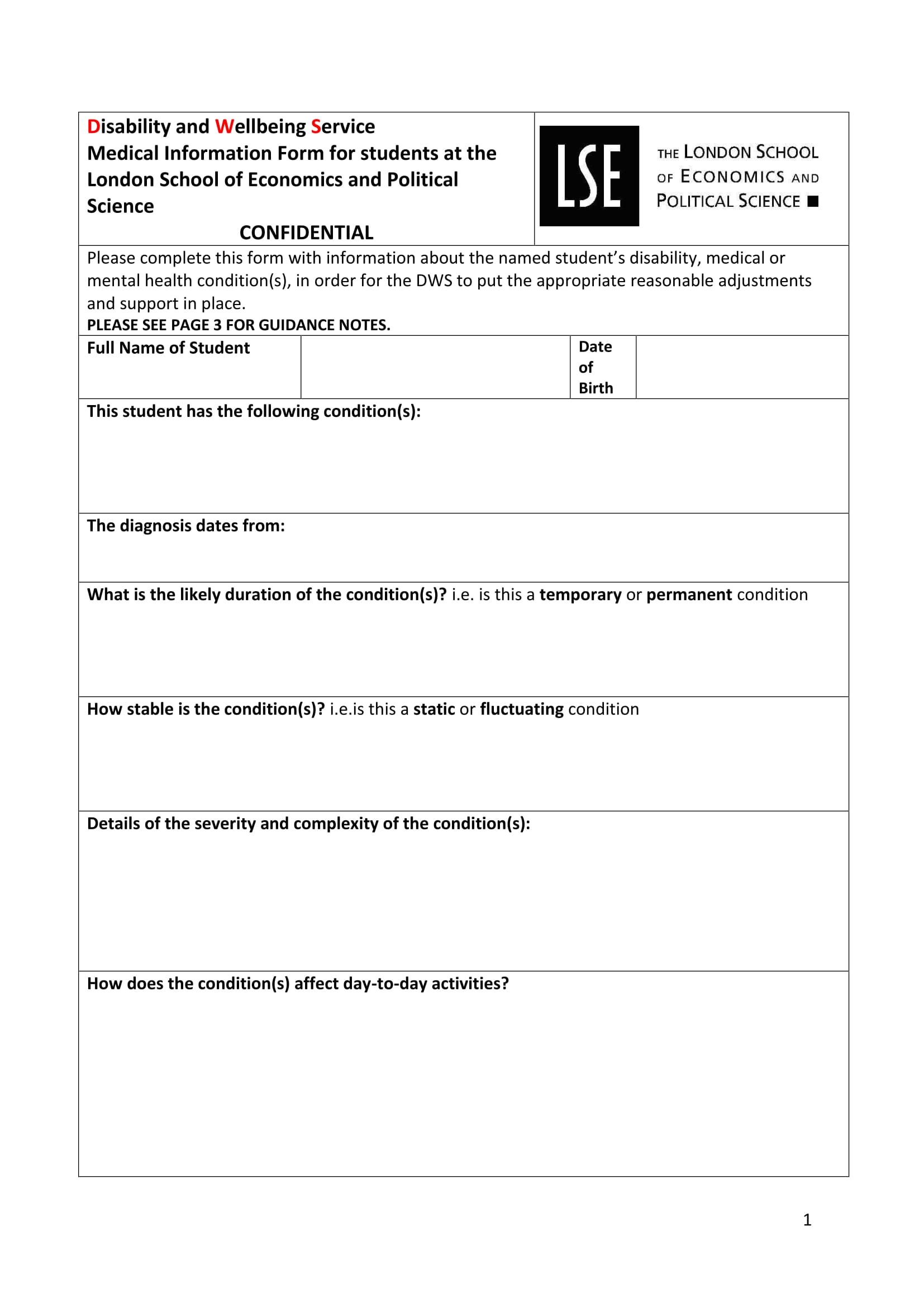 disabled student medical information form 1
