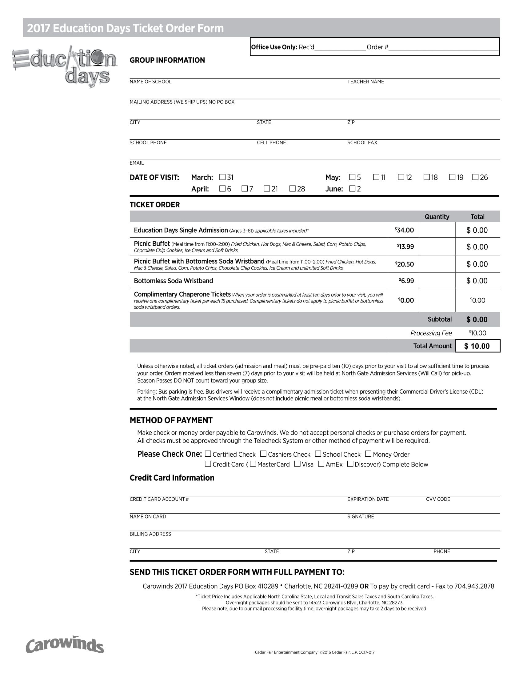 education days ticket order form 1