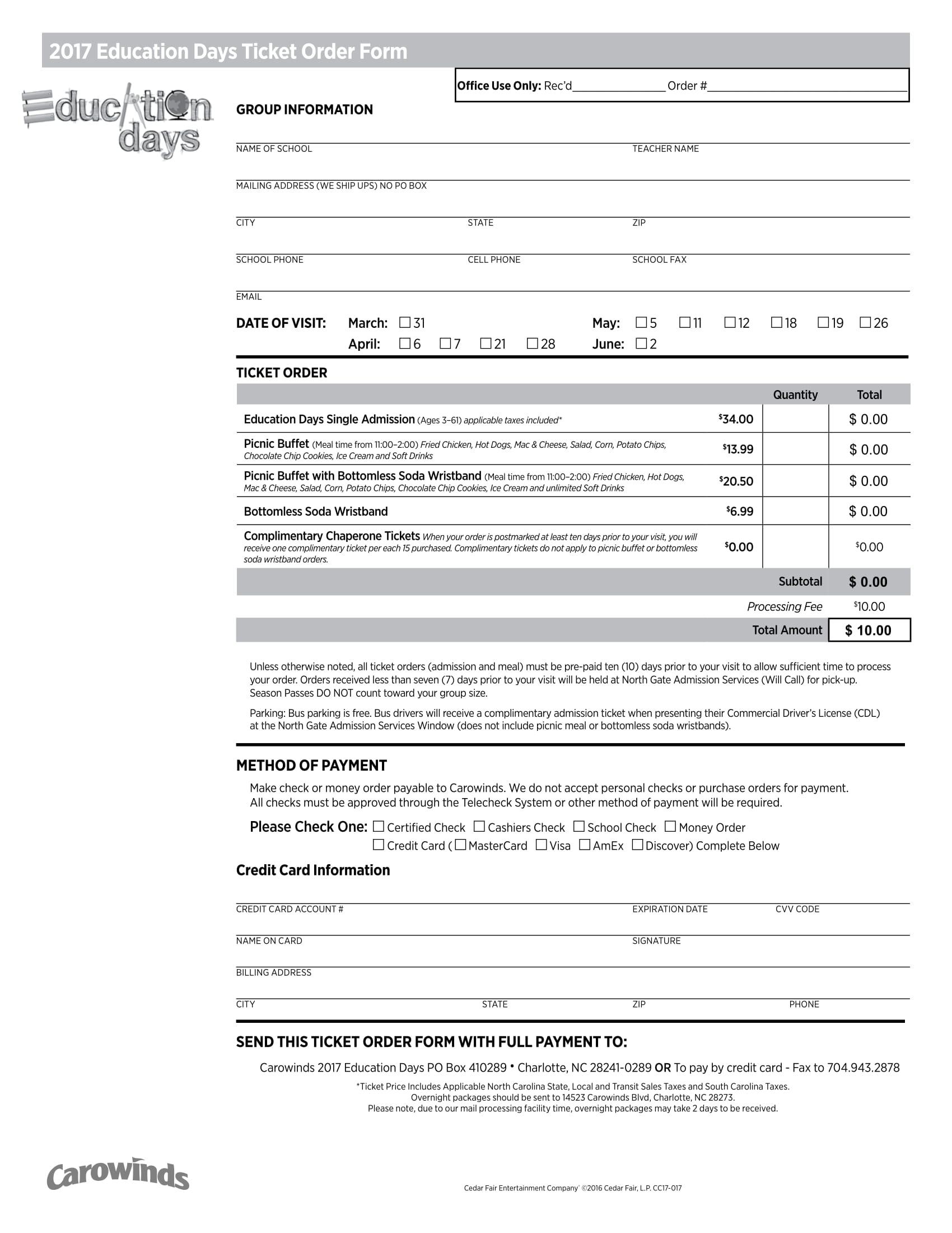 education days ticket order form 1
