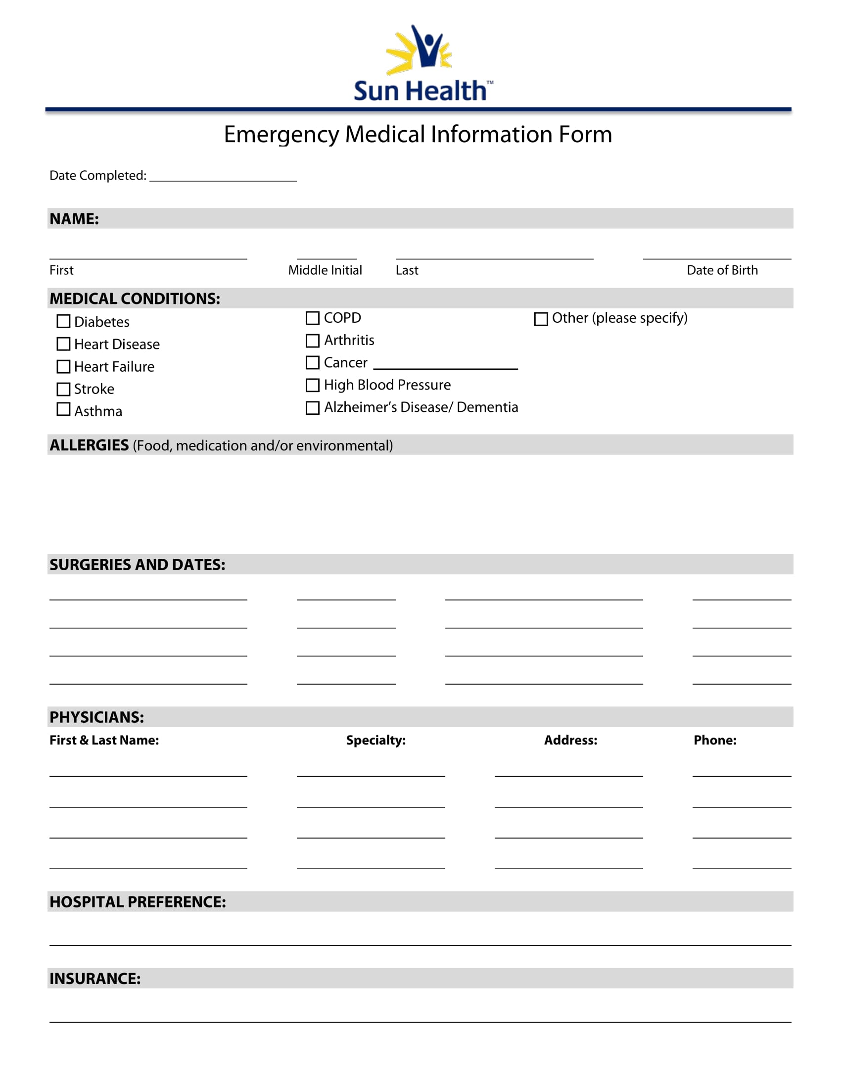 emergency medical information form 1