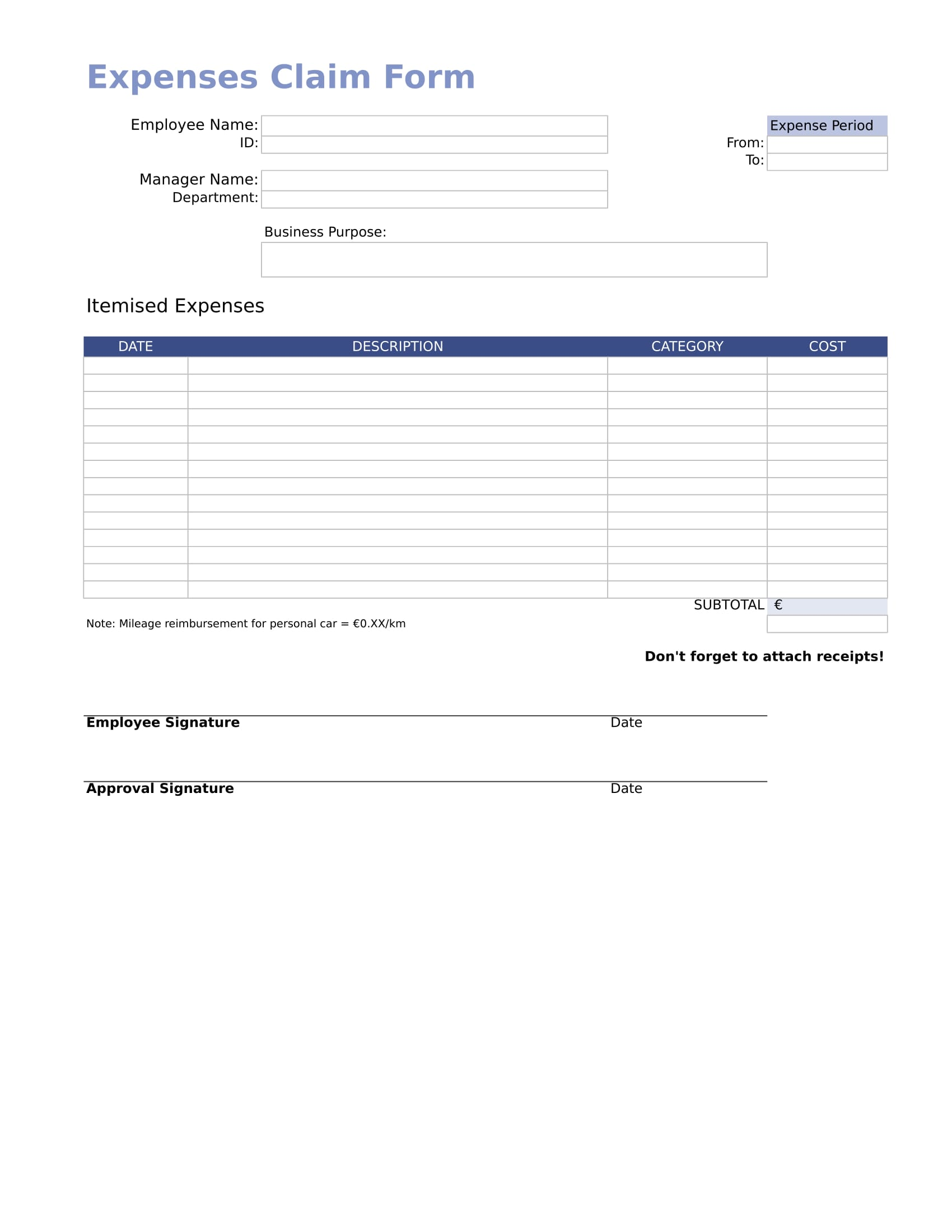 employee expense reimbursement form in excel 1