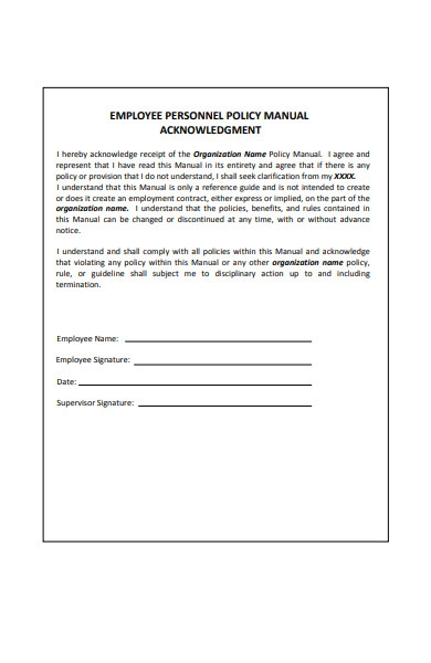 employee manual policy acknowledgment form