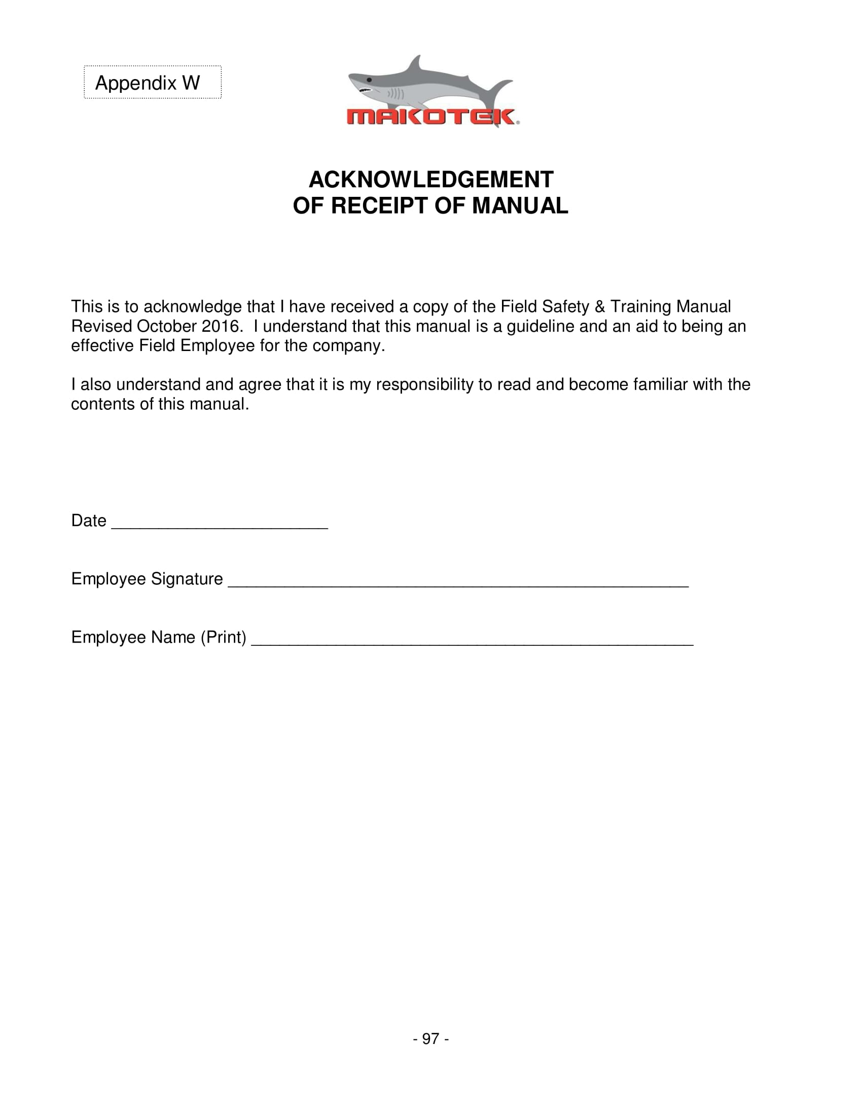 employee manual receipt acknowledgement form 1