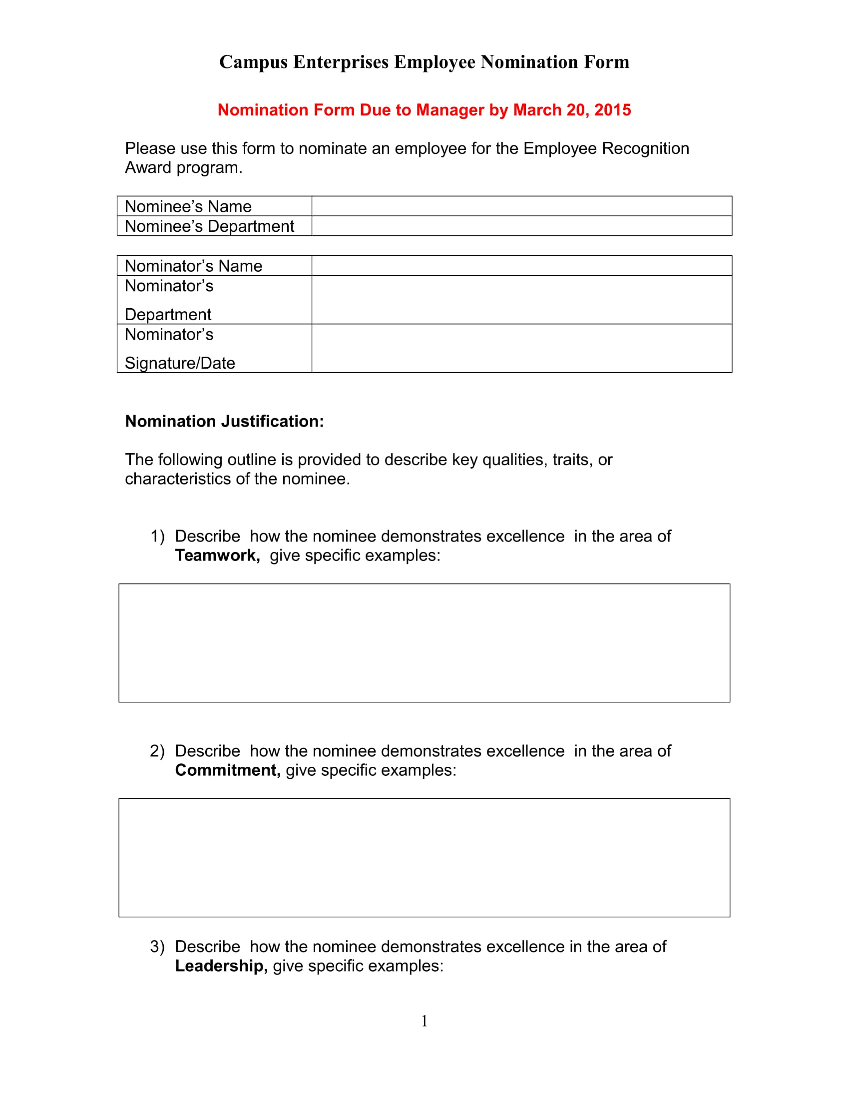 4  employee nomination forms