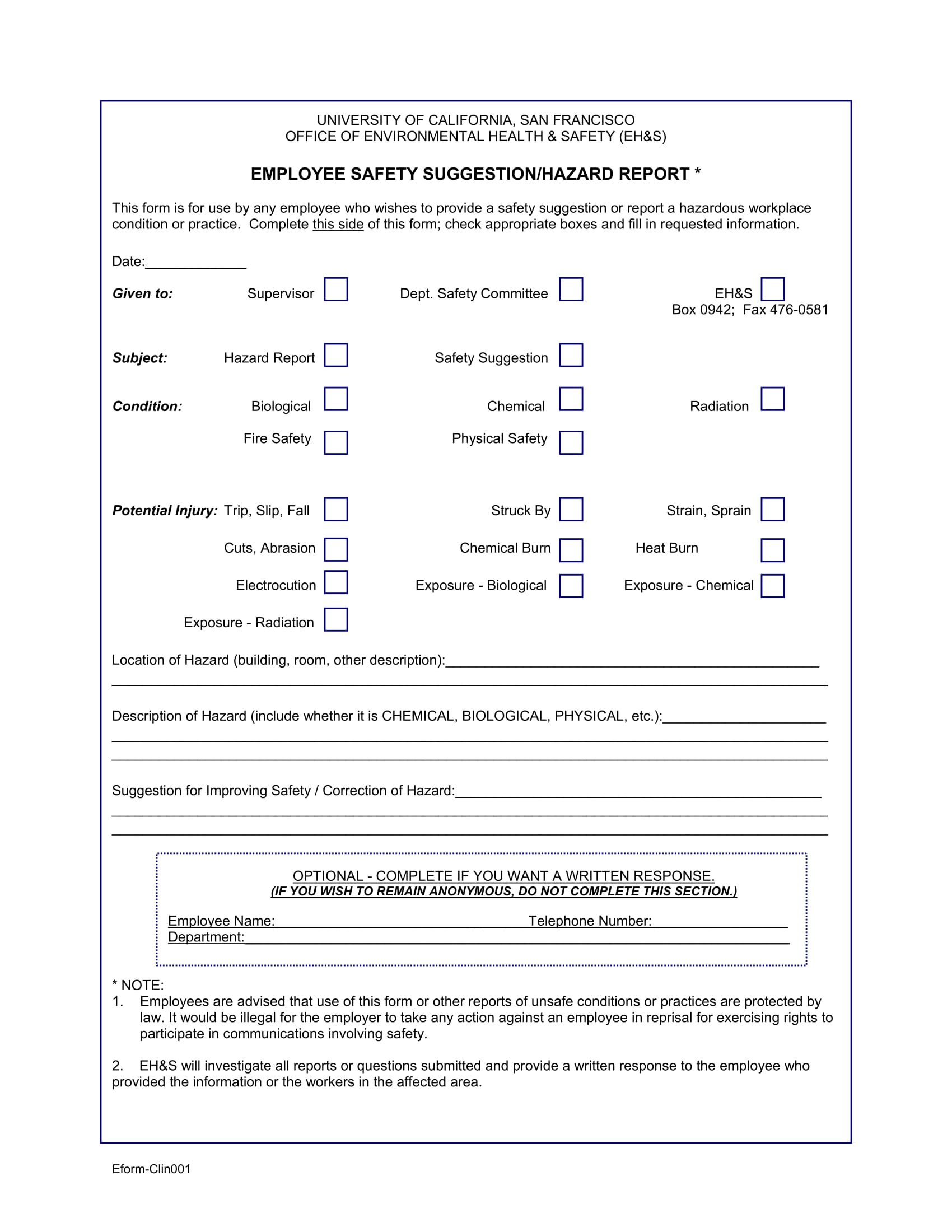 employee safety suggestion form 1