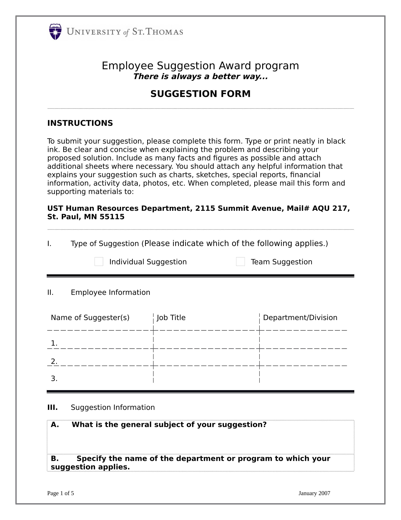 employee suggestion award form 1