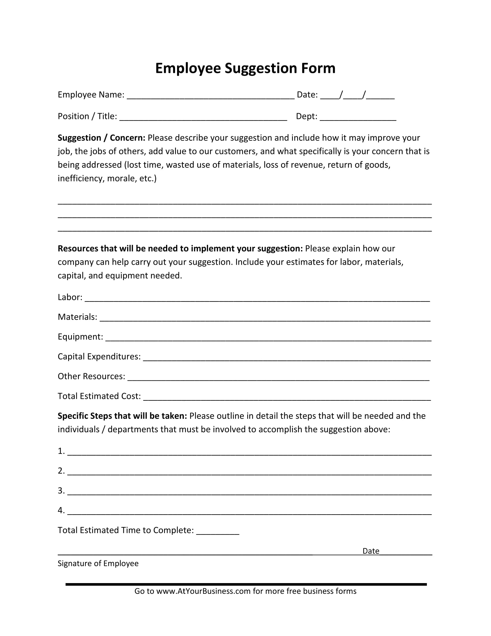 employee suggestion form sample 1