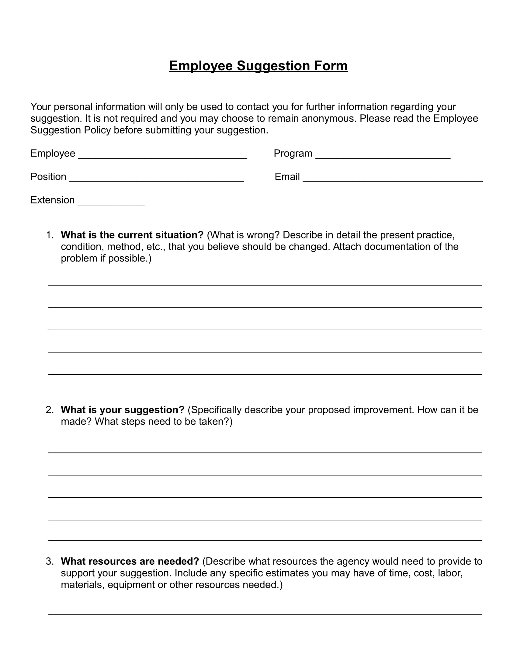 employee suggestion form in doc 1