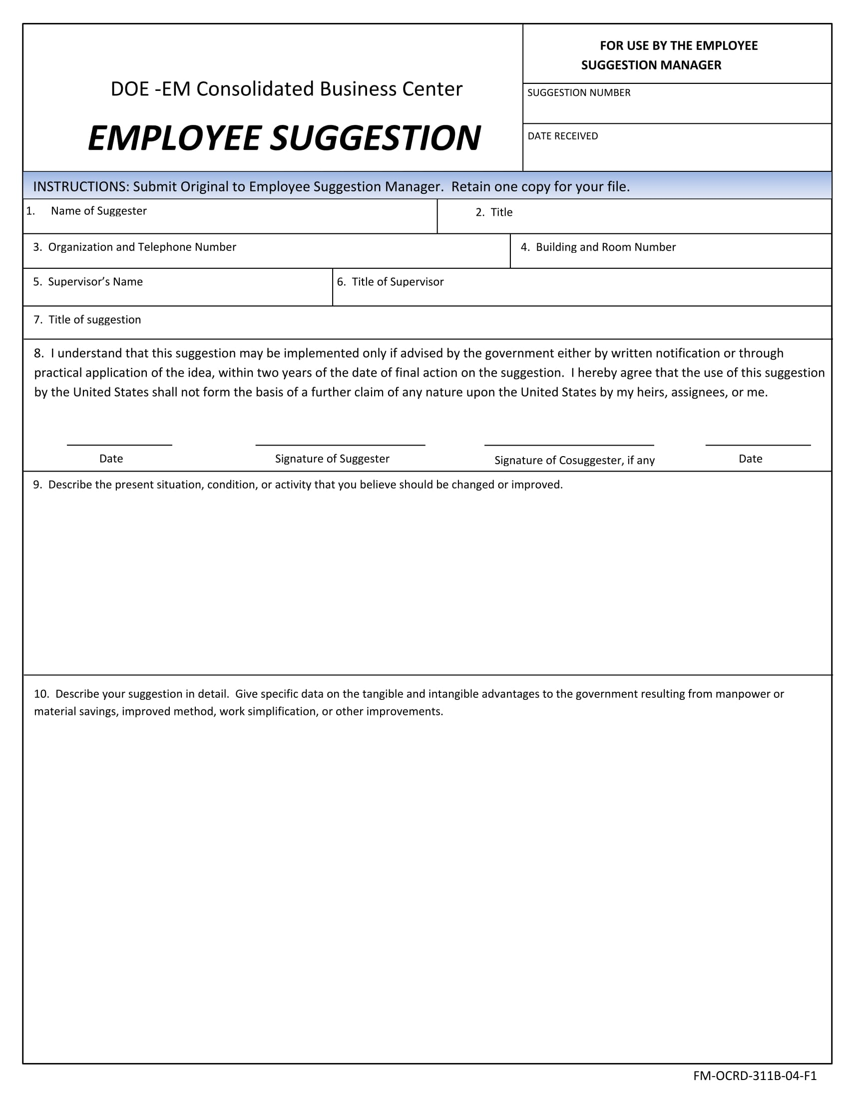employee suggestion manager suggestion form 1