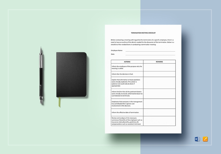 employee termination meeting checklist