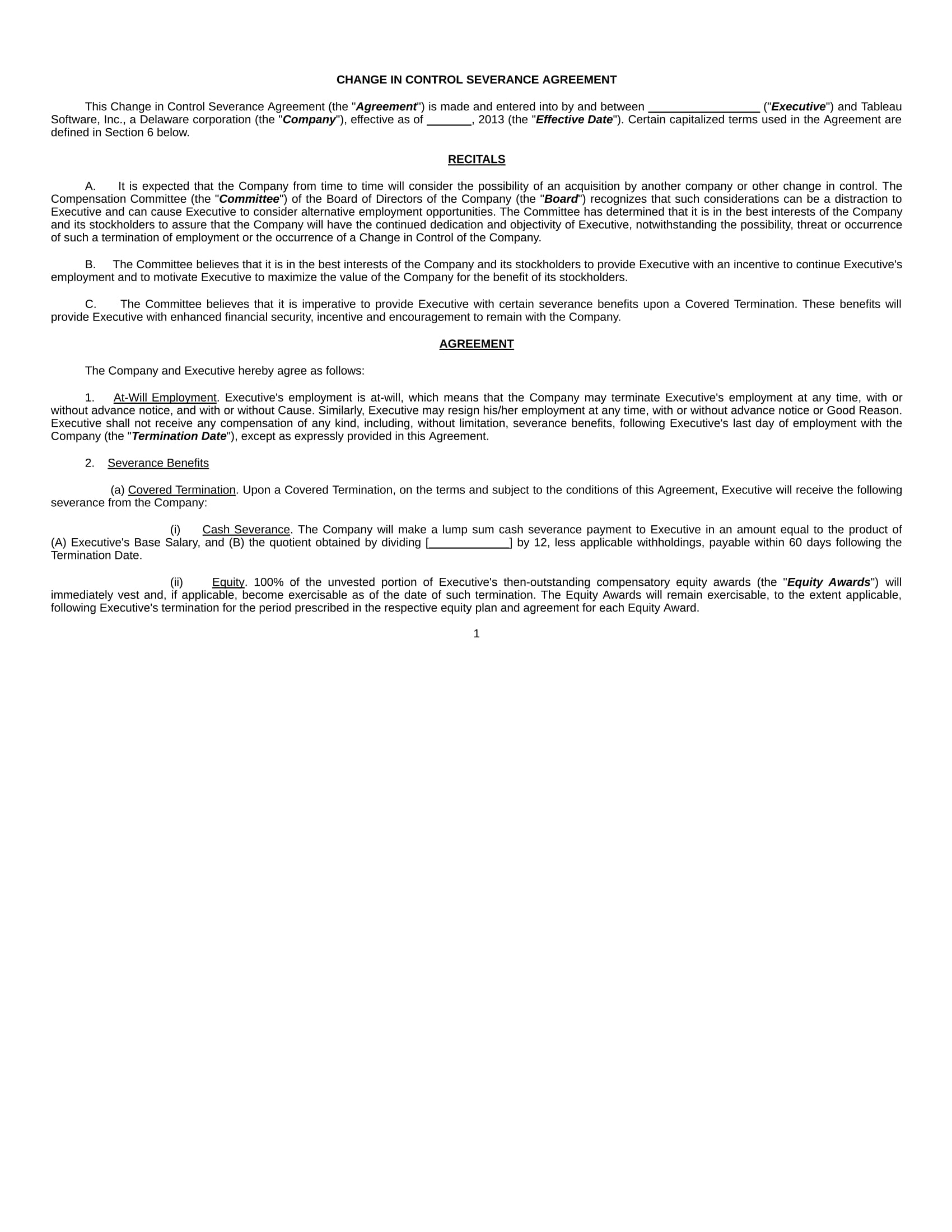 2 Executive Protection Agreement Change In Control Long Forms Pdf