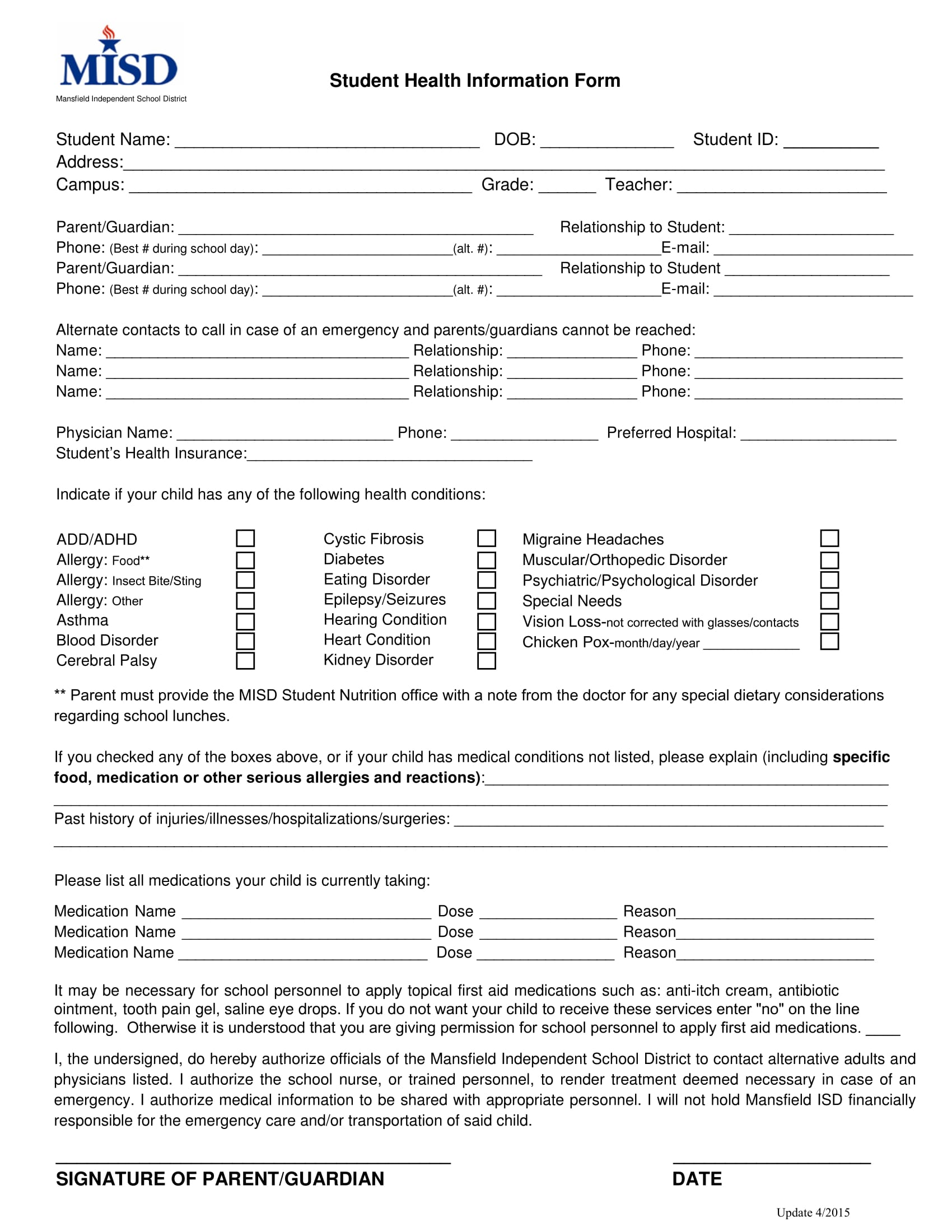 fillable student health information form 1