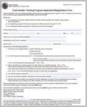 Food Handler Training Application Form