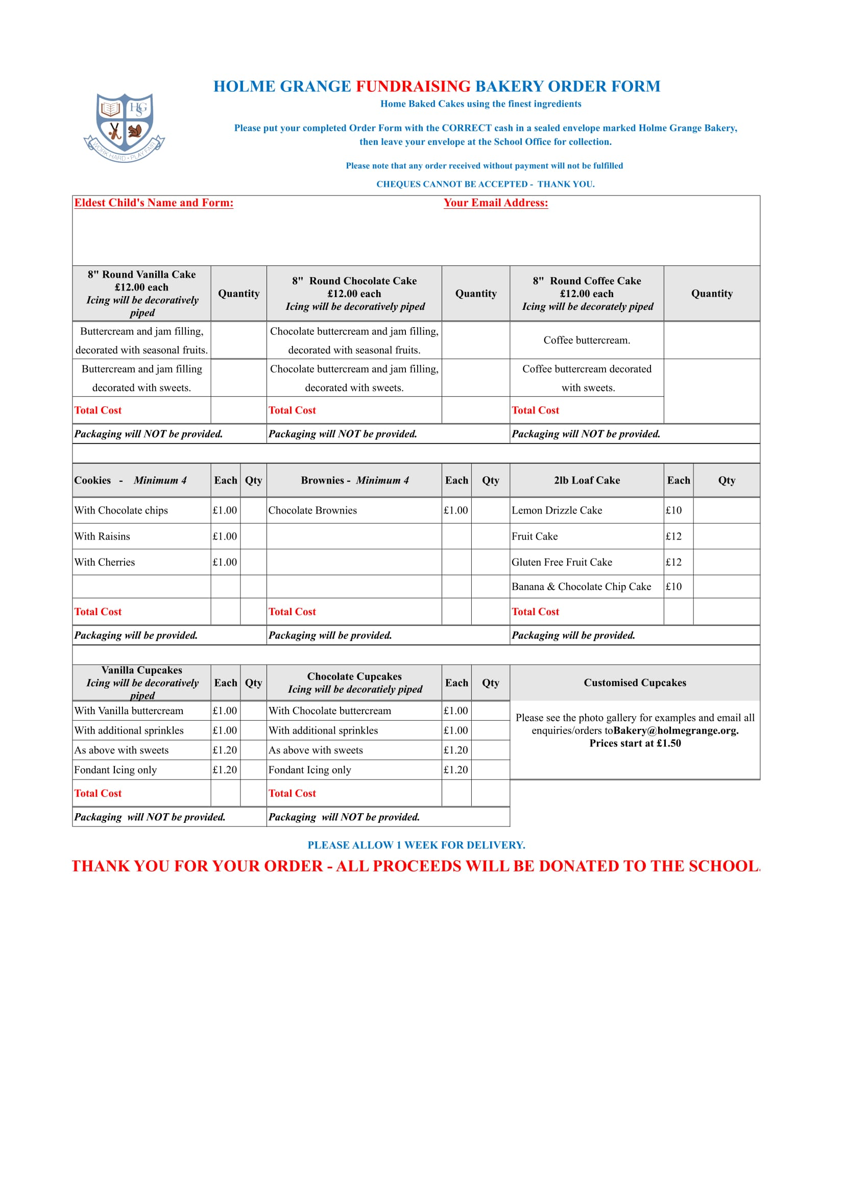 fundraising bakery order form 1