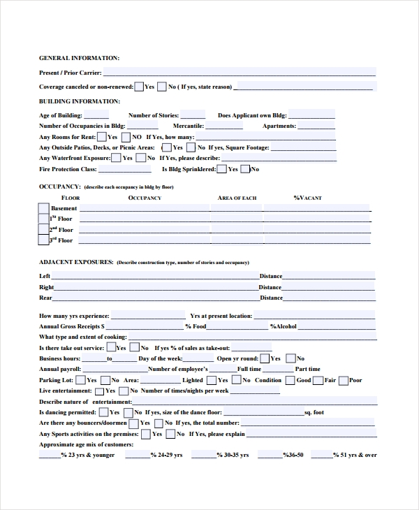 general restaurant questionnaire form