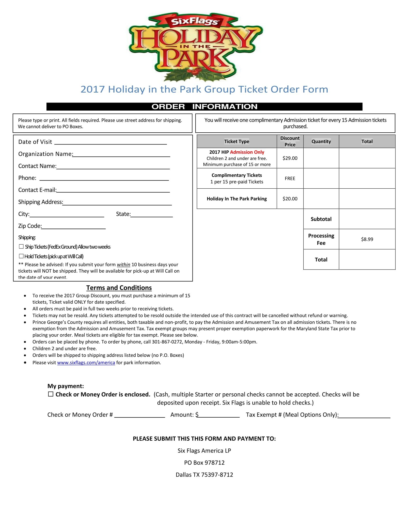 group holiday ticket order form 1