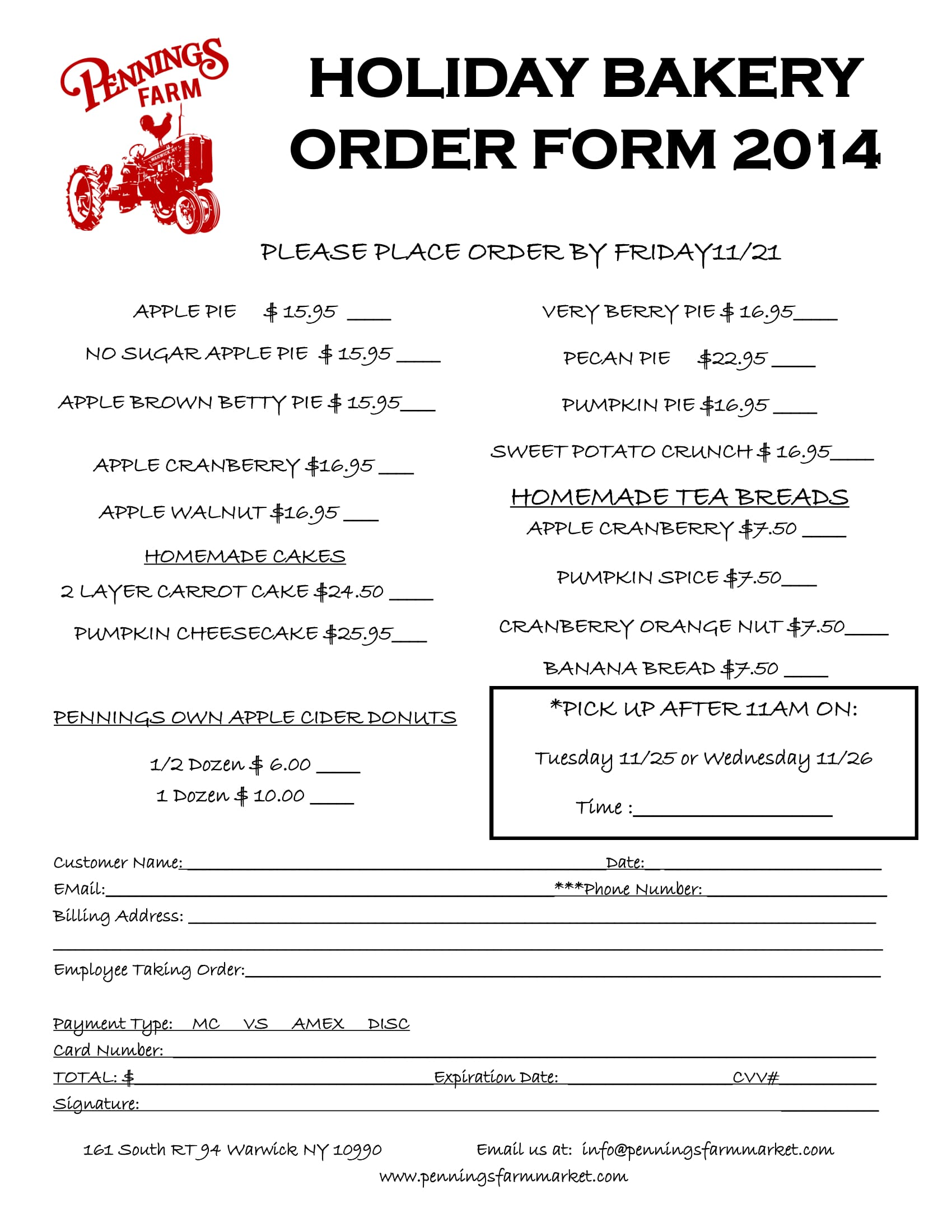 holiday bakery order form 1