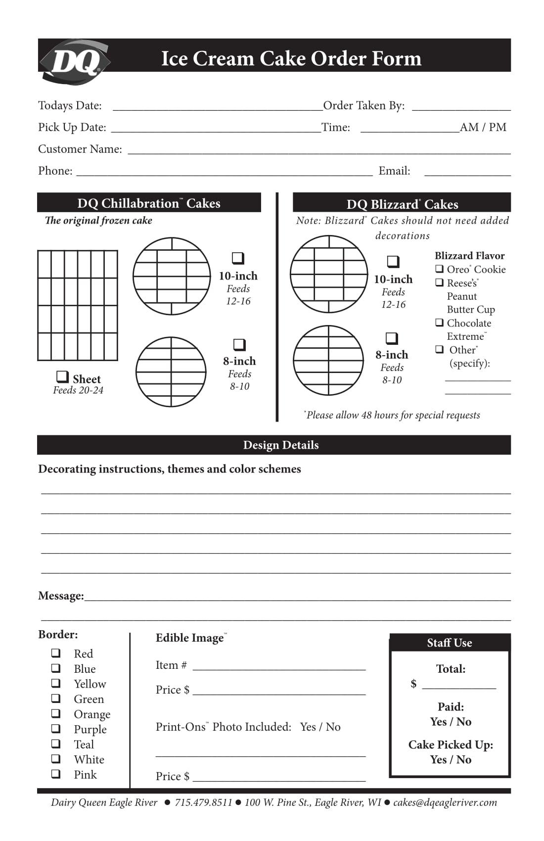 ice cream cake order form 1
