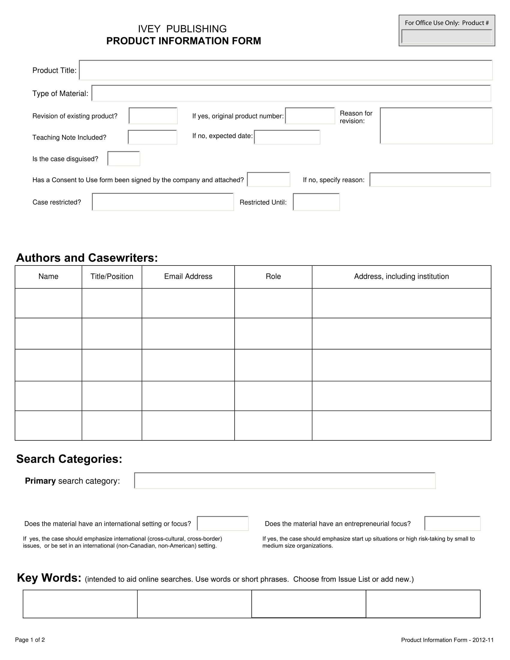 interactive product information form template 1
