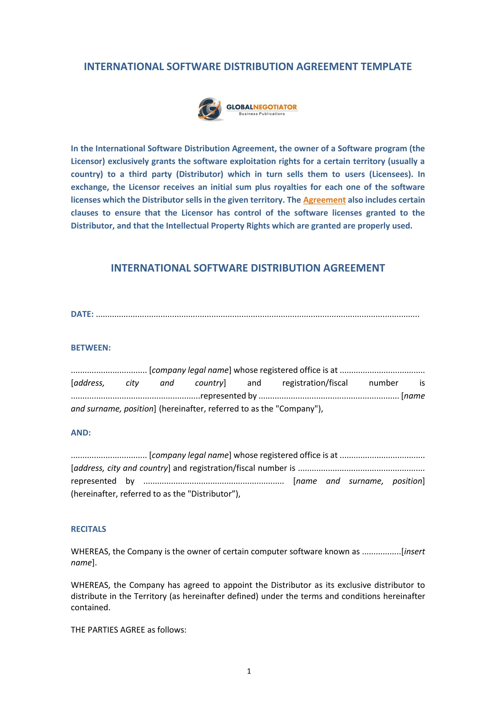 international distribution agreement template - 4 software distribution agreement forms pdf word
