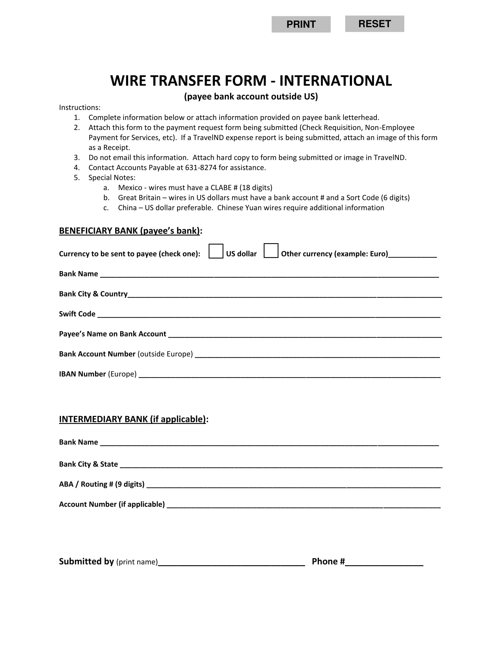 wire transfer form on