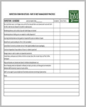 Kitchen Management Inspection Form