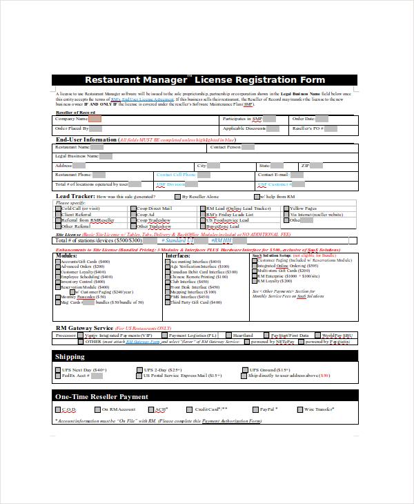 legal restaurant license registration form