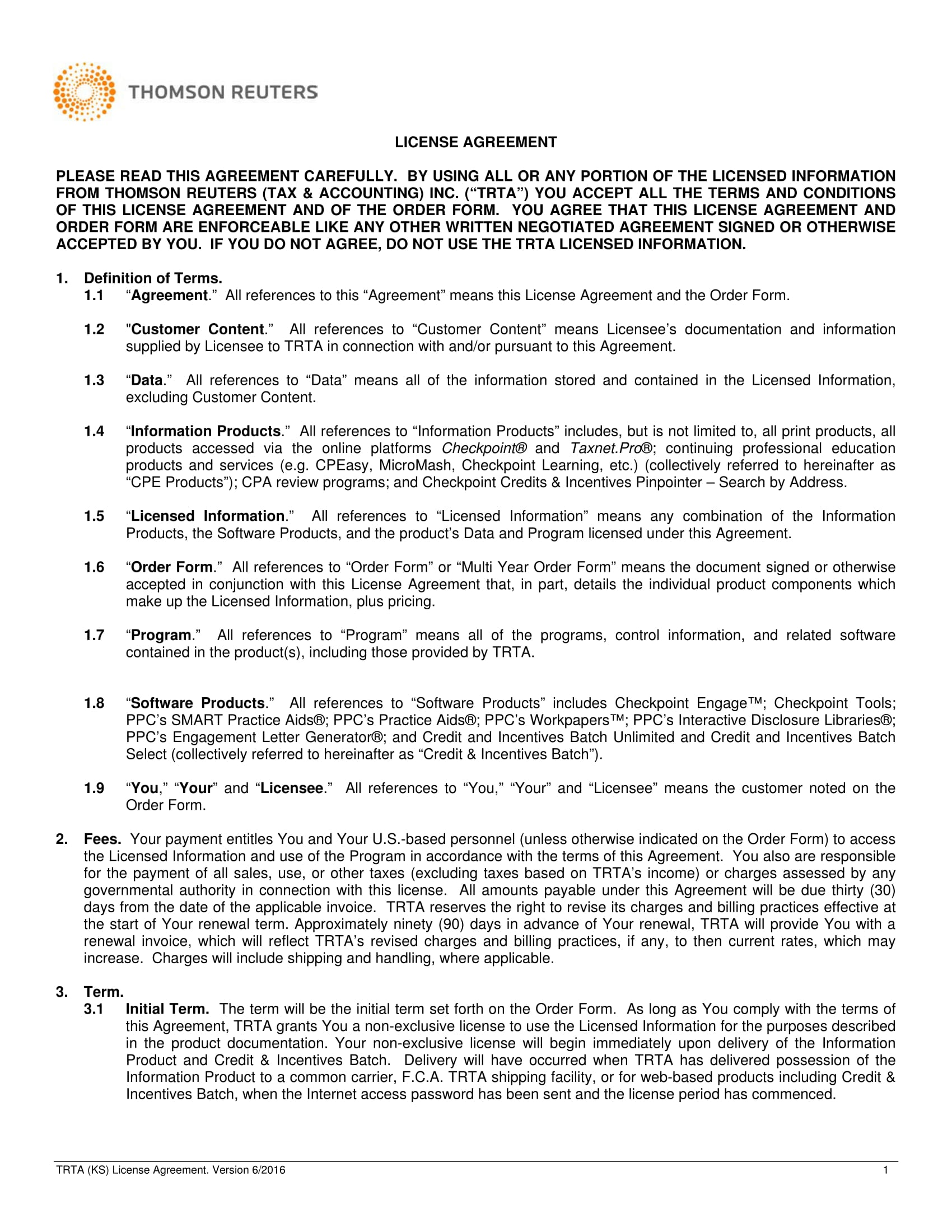 4 License Agreement Long Forms Pdf