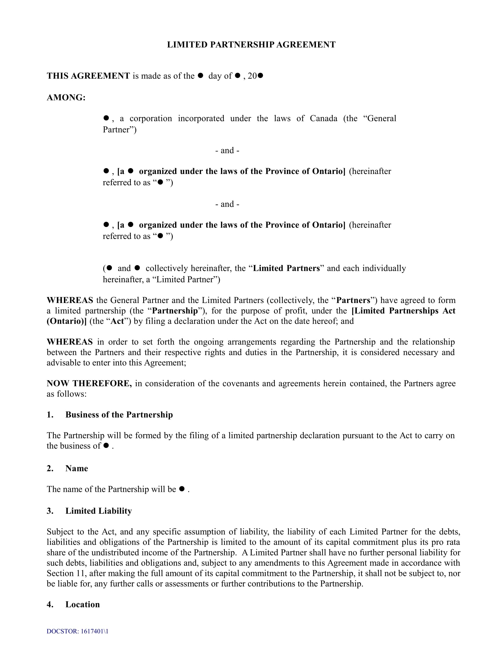 limited partnership agreement sample form 1