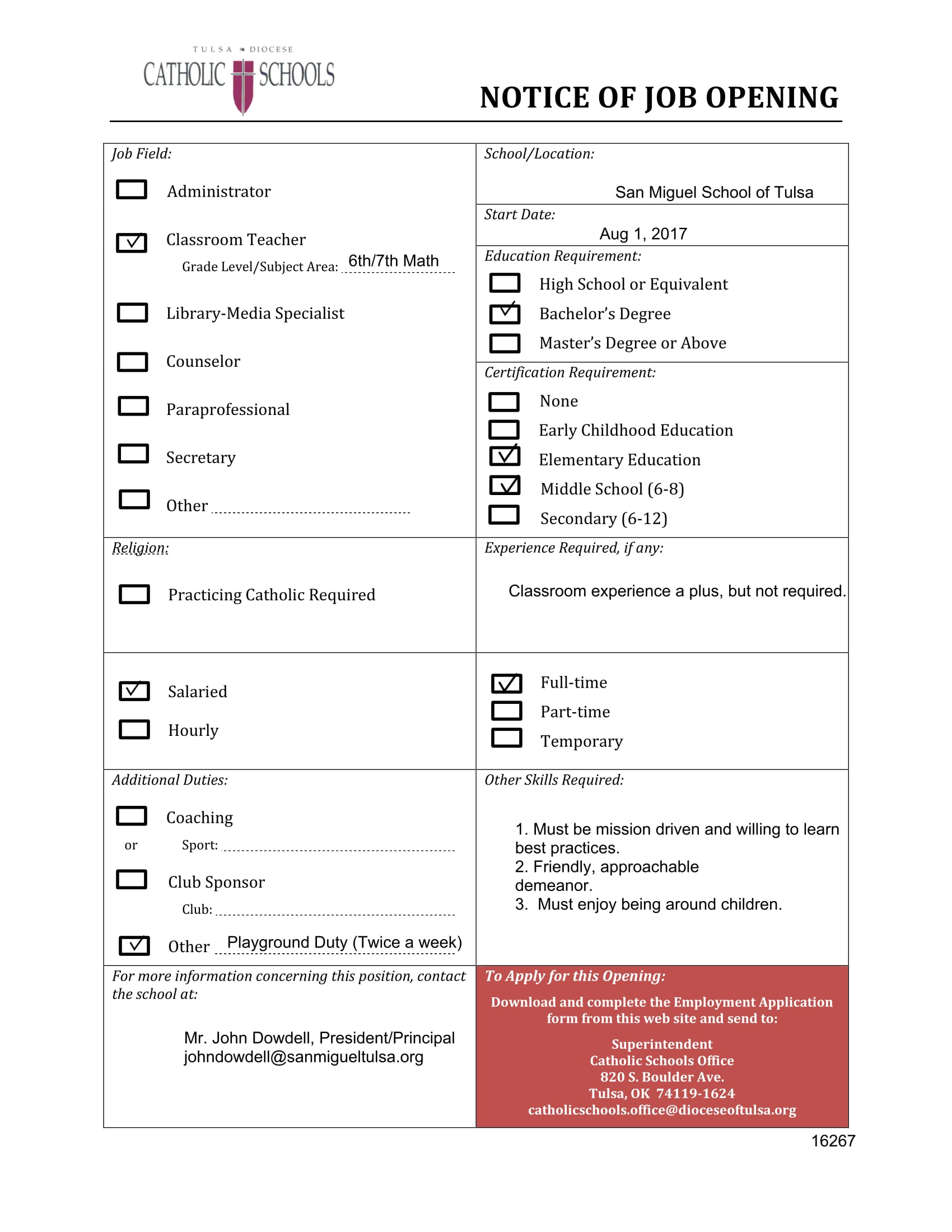 notice of job opening checklist form 1