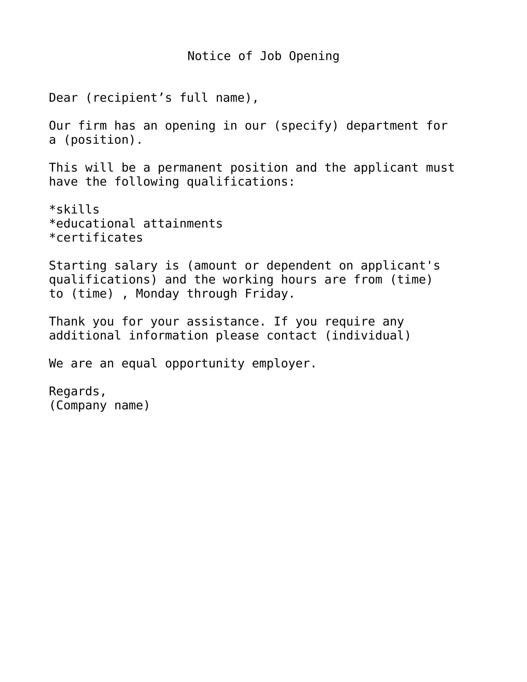 notice of job opening letter format 1