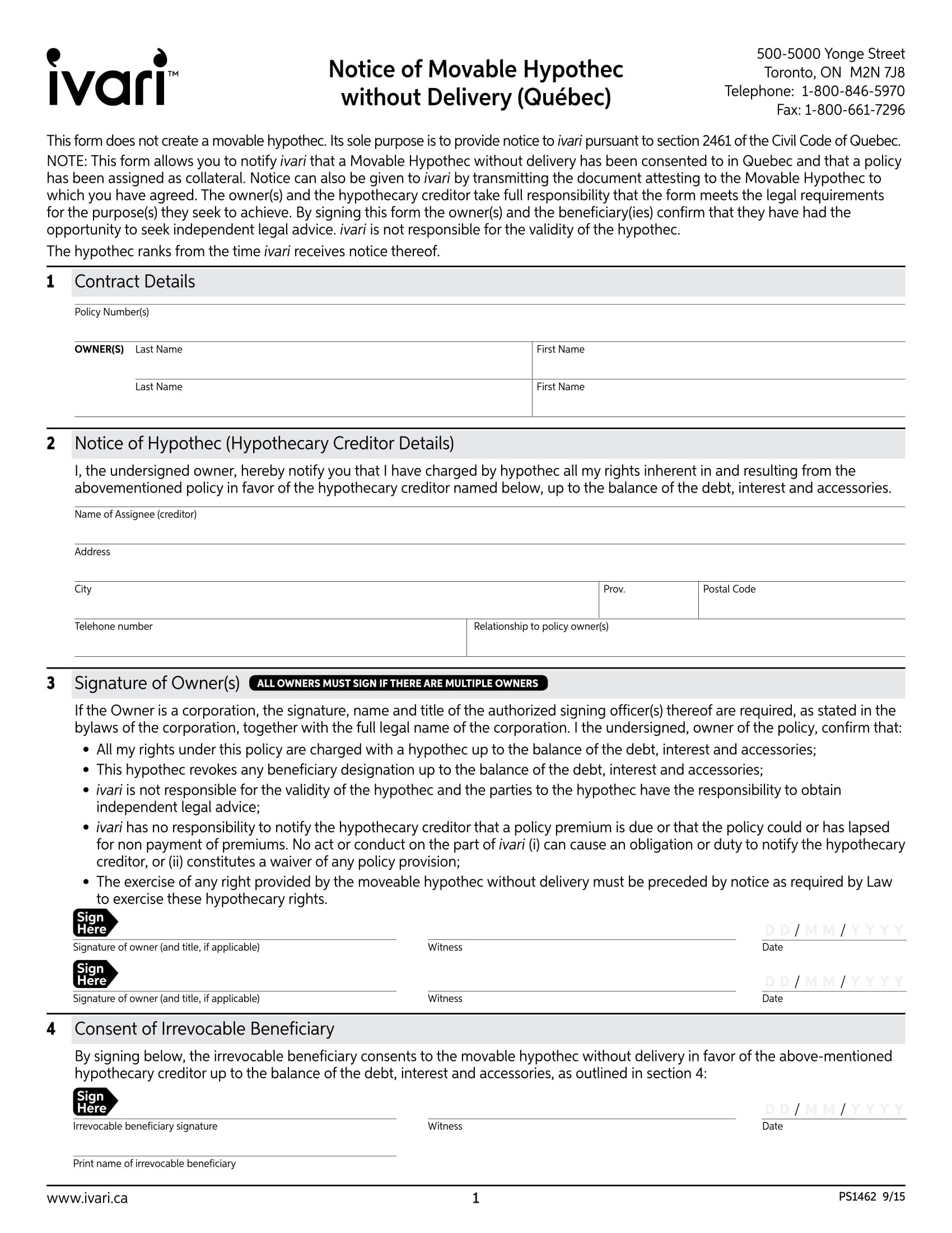 notice of movable hypothec form 1