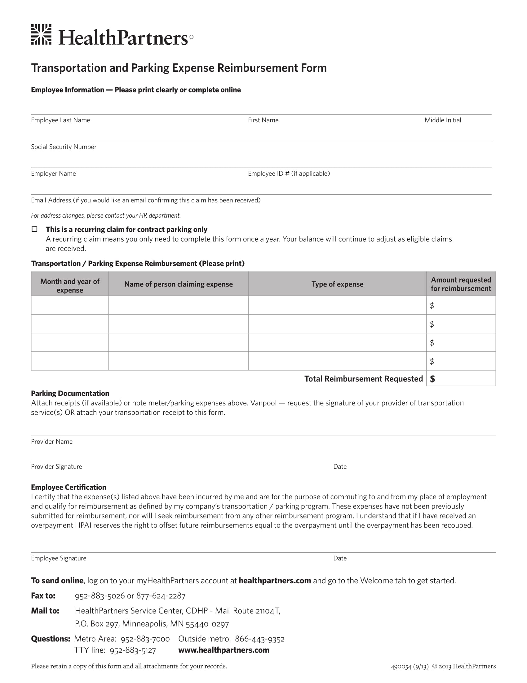 parking expense reimbursement form 1