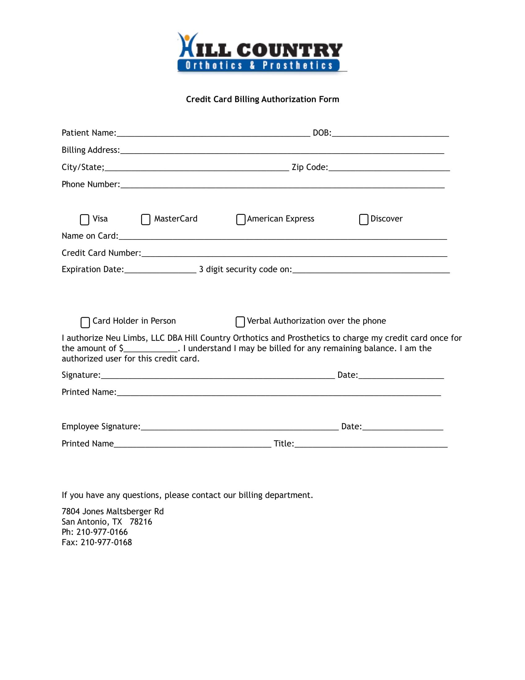 patient credit card billing authorization form 1