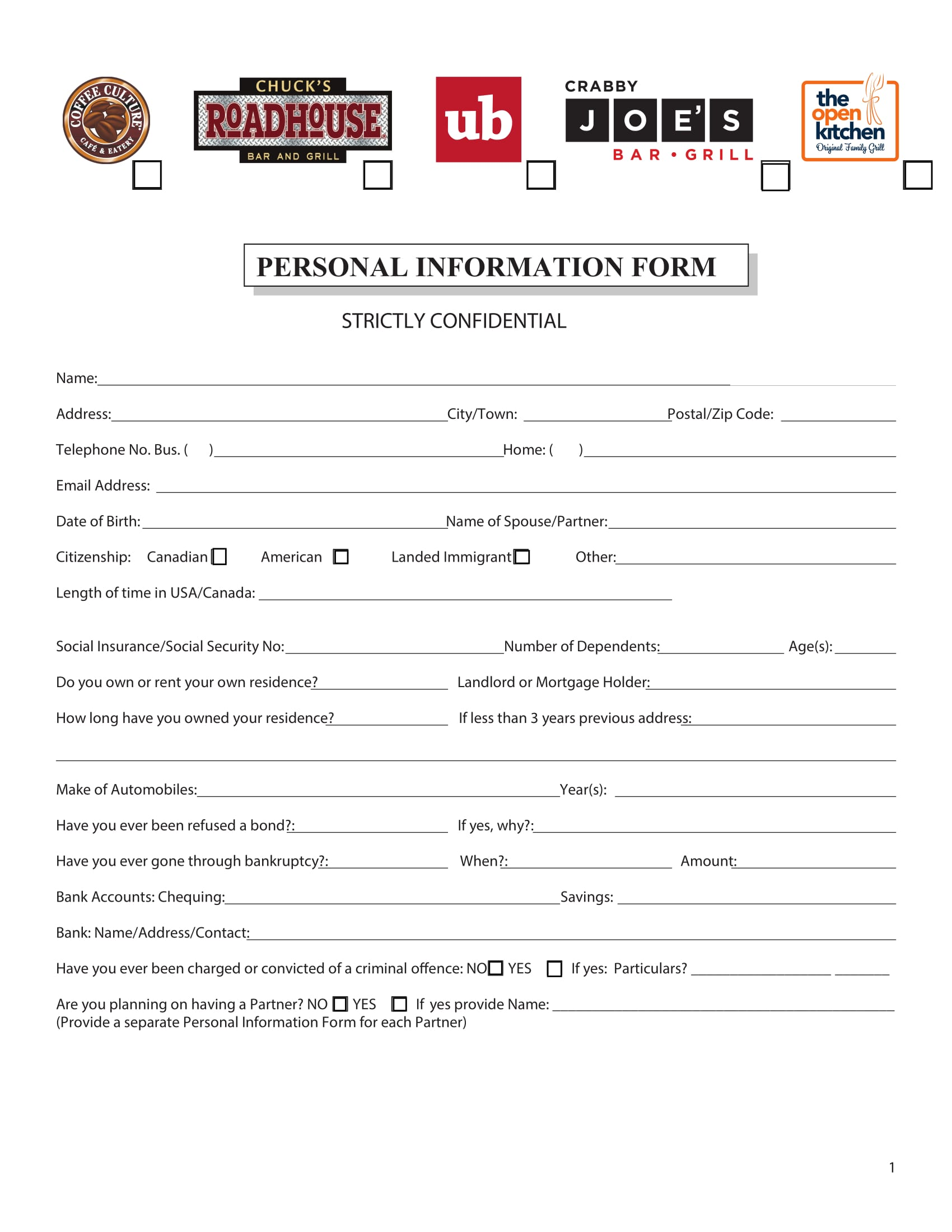 Personal-Information-Form-for-Job-Application-1 Job Application Information Form on blank generic, free generic, part time,