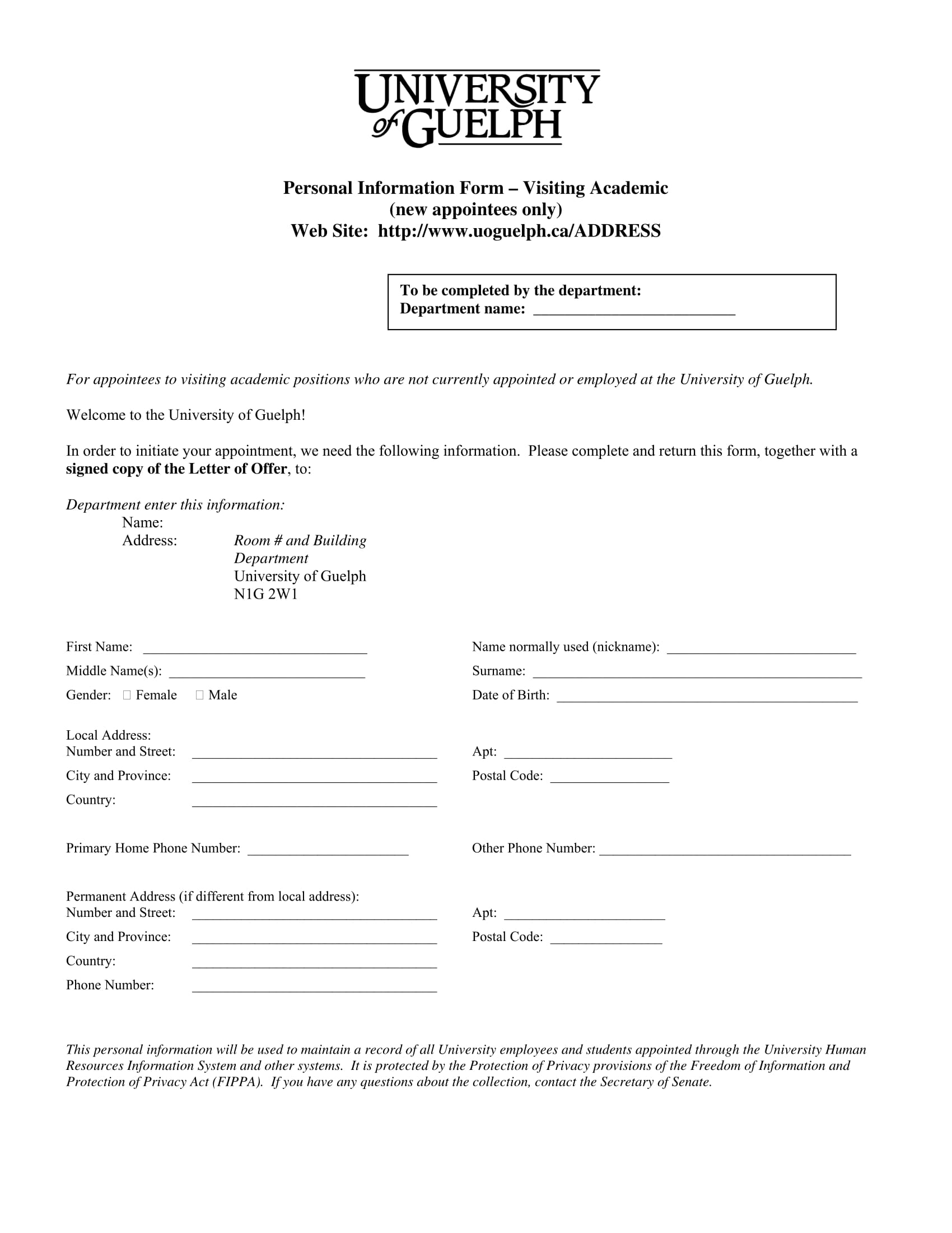 personal information form for new appointees 1