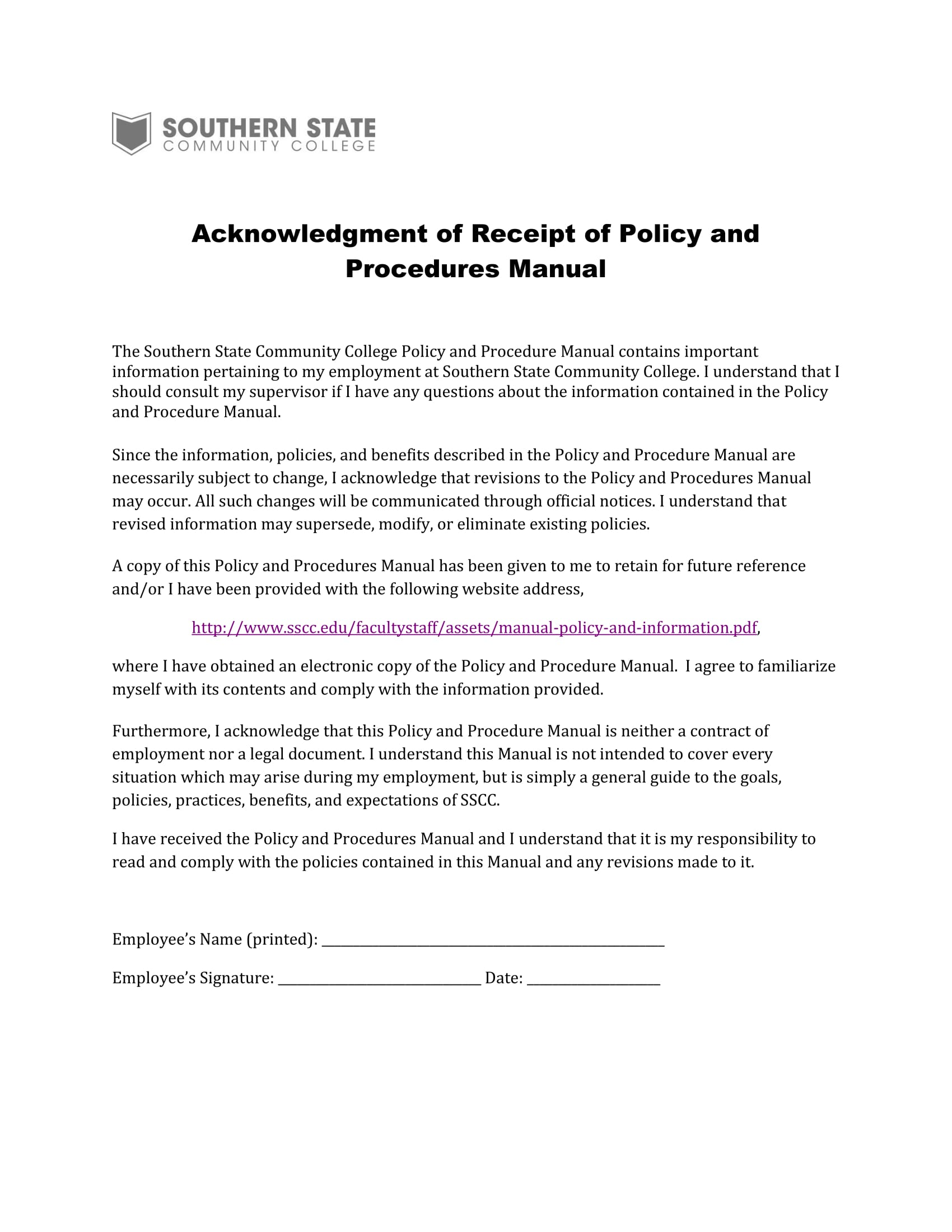 policy and procedures manual acknowledgement form 1