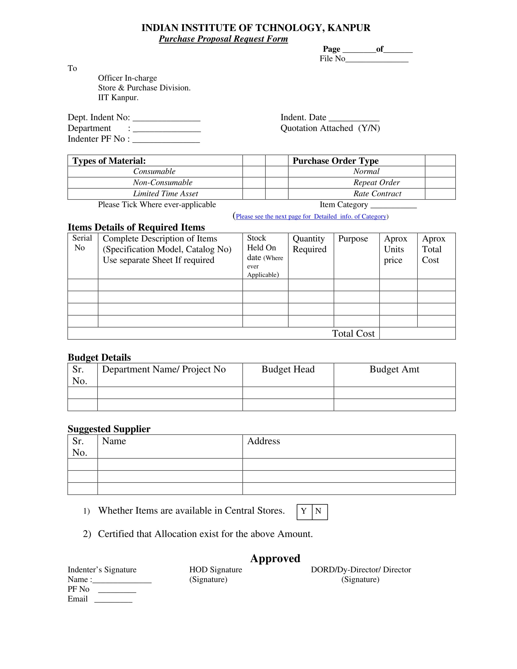 purchase proposal request form 1