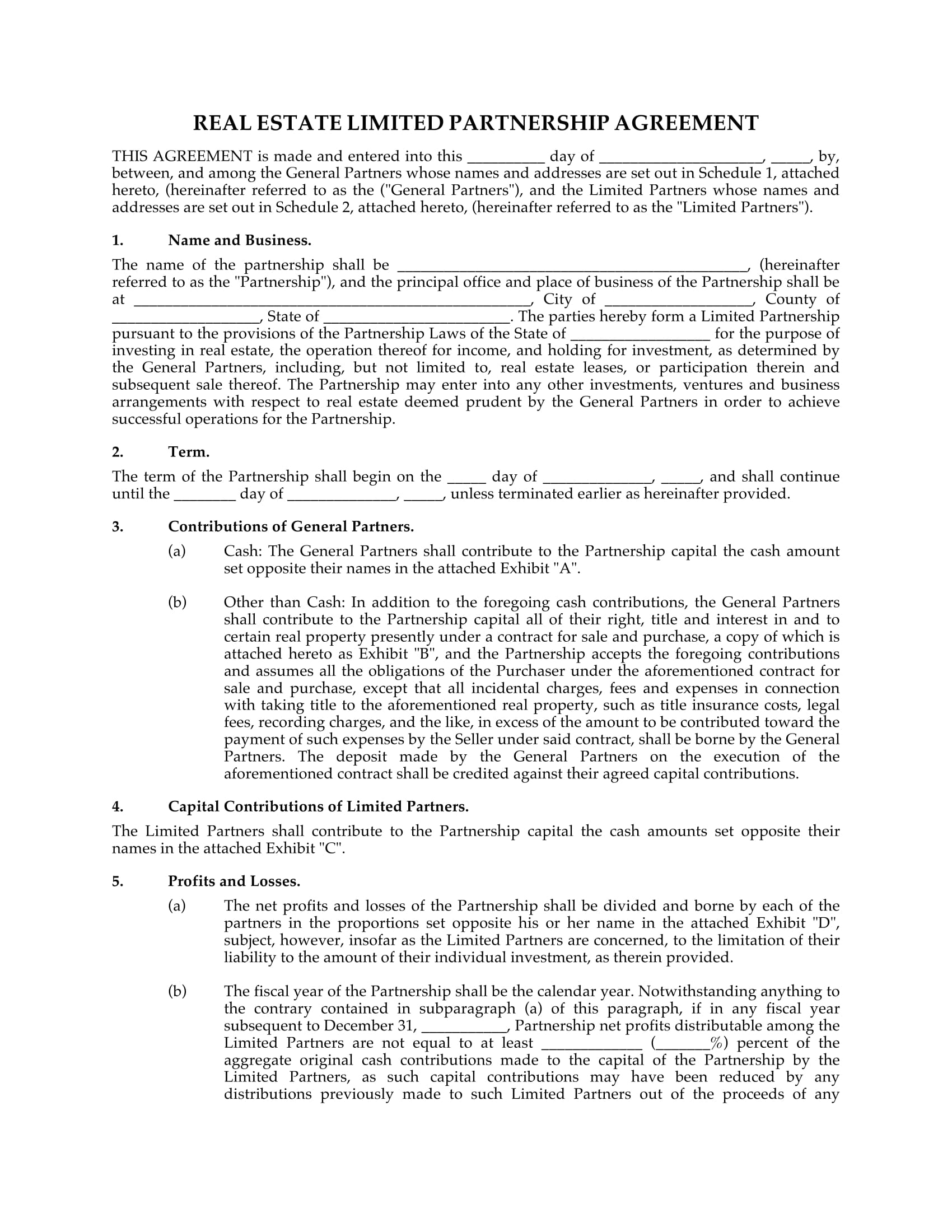 real estate limited partnership agreement 1